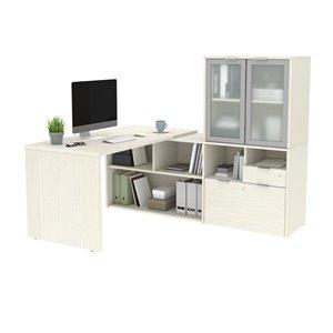 Bureau en L avec rangement et portes en verre givré moderne i3 Plus de Bestar, 71,1 po, chocolat-blanc