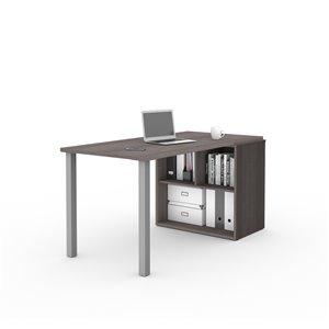 Table-bureau avec rangement ouvert moderne i3 Plus de Bestar, 59,3 po, gris écorce