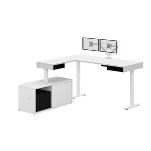 Bureau debout en L avec double bras-support et bahut moderne Pro-Vega de Bestar, 80,3 po, blanc/noir