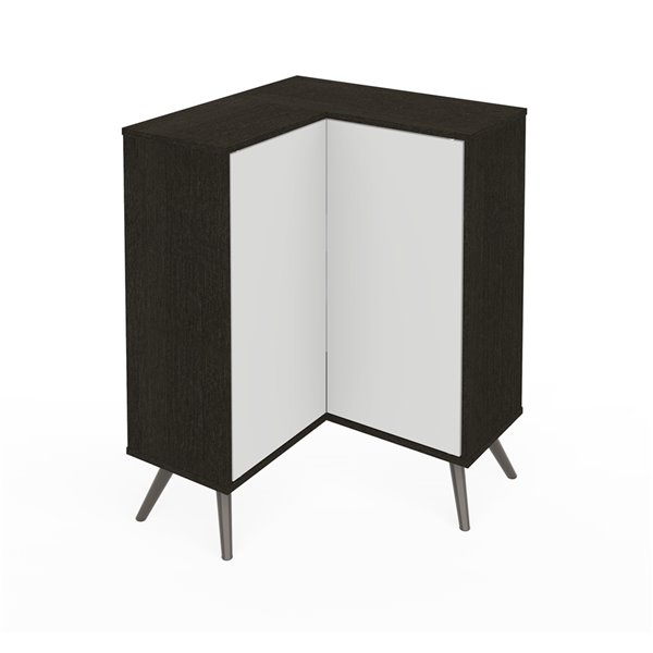 Bestar Krom Corner Storage Cabinet with Metal Legs - 36-in x 27-in - Deep Grey/White