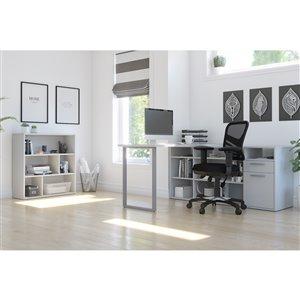 Bureau en coin moderne avec étagère Solay de Bestar, blanc