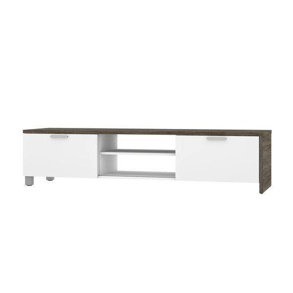 Meuble Lucida de Bestar pour téléviseurs 80 po, gris boisé/blanc