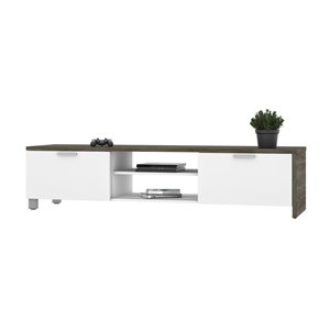 Bestar Lucida TV Stand for TVs up to 80-in - Walnut Grey/White
