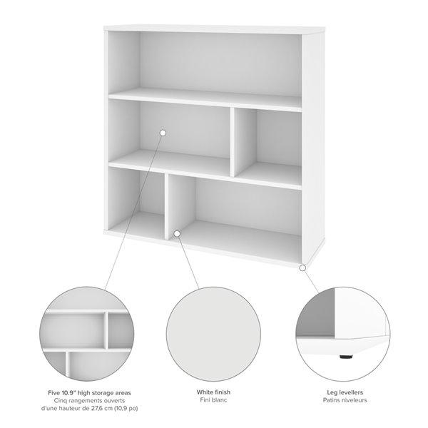 Bibliothèque standard à 3 tablettes, Fom de Bestar, 35,6 po x 35,4 po, blanc
