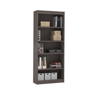 Bestar Universel 5-Shelf Standard Bookcase - 72-in x 29.5-in - Bark Grey