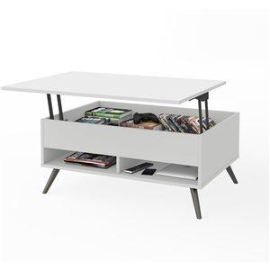 Table à café avec plateau relevable et pattes en métal Krom de Bestar, 17 po x 37 po, blanc