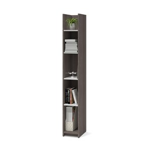 Bestar Small Space 5-Shelf Narrow Standard Bookcase - 71.1-in x 10-in - Bark Grey/White