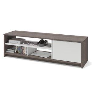 Meuble Small Space de Bestar pour téléviseurs 55 po, gris écorce/blanc