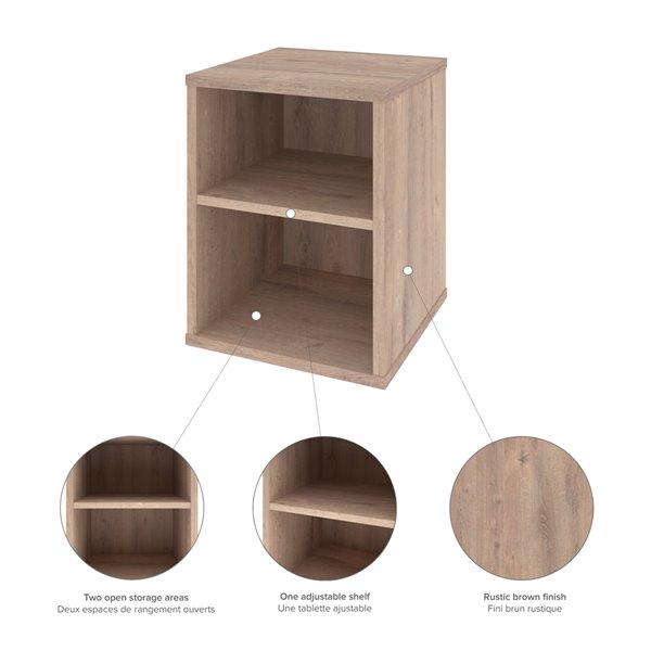 Table d'appoint rectangulaire Fom de Bestar, 33 po x 15 po, brun rustique