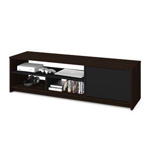 Meuble Small Space de Bestar pour téléviseurs 55 po, brun chocolat/noir