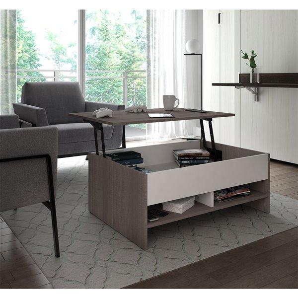Table à café avec plateau relevable Small Space de Bestar, 15 po x 37 po, gris écorce/blanc