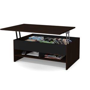 Table à café avec plateau relevable Small Space de Bestar, 15 po x 37 po, brun chocolat/noir