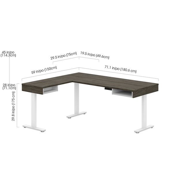 Bestar Pro-Vega Modern L-Shaped Standing Desk with Monitor Arm - Credenza and Hutch - 80.3-in - Walnut Grey/White
