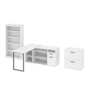 Bureau en coin moderne avec rangement Solay de Bestar, blanc