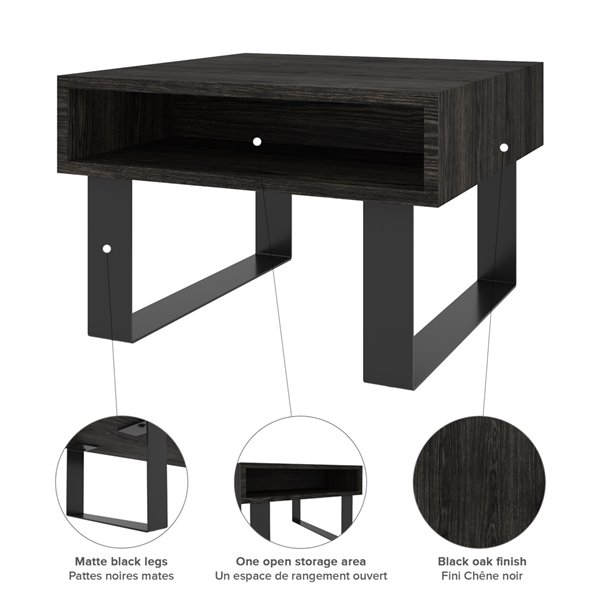Table basse rectangulaire Lyra de Bestar, 16 po x 24 po, chêne noir