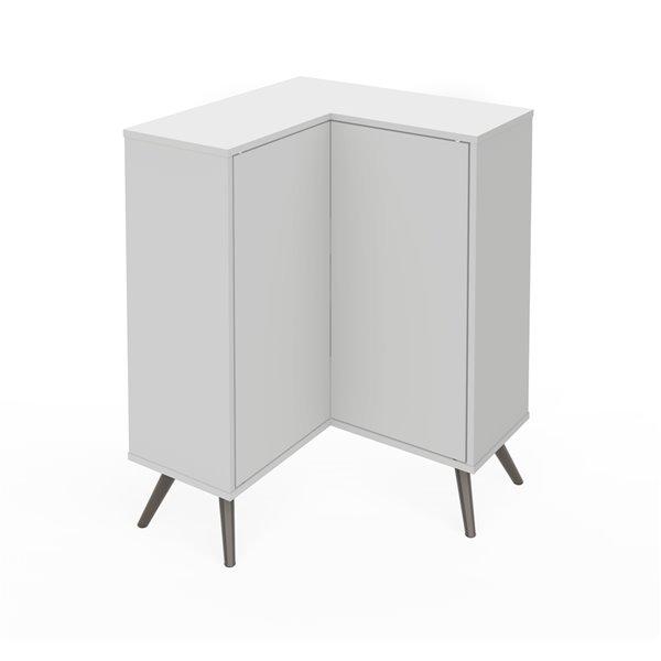 Bestar Krom Corner Storage Cabinet with Metal Legs - 36-in x 27-in - White