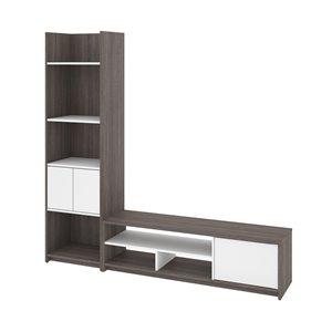 Meuble de télévision avec étagère Small Space de Bestar, gris écorce/blanc