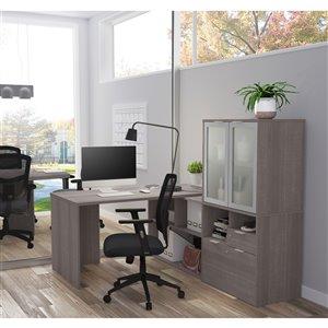 Bureau en L avec rangement et portes en verre givré moderne i3 Plus de Bestar, 71,1 po, gris écorce