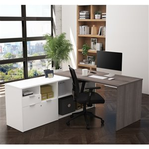 Bureau en L contemporain i3 Plus de Bestar, 71,1 po, gris écorce/blanc