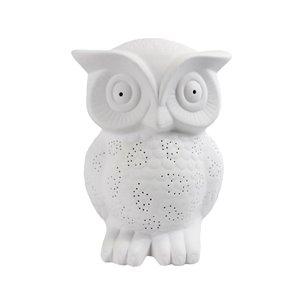 Lampe de table lumineuse en forme de hibou sage en porcelaine de Simple Designs, 9,84 po, blanc