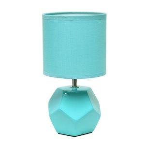 Mini lampe de table à prisme rond avec abat-jour en tissu assorti de Simple Designs, 10,4 po, bleu