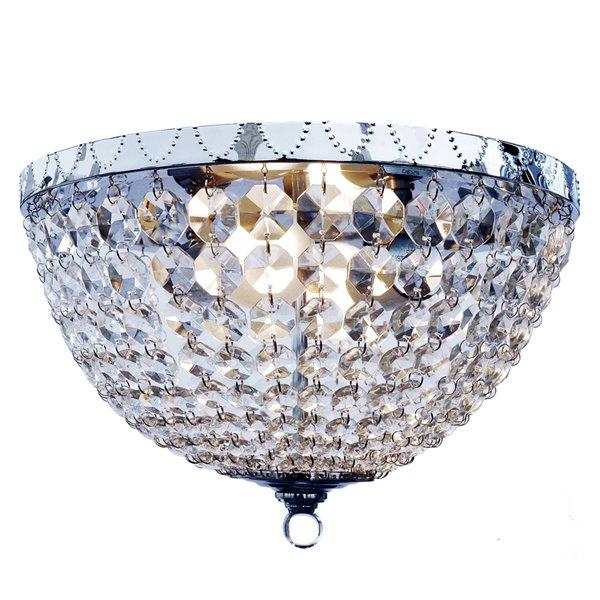 Plafonnier Victoria Light à 2 ampoules en cristal de pluie de Elegant Designs, chrome