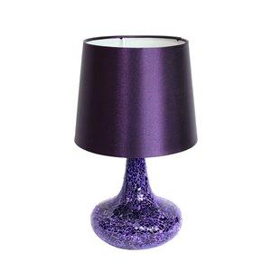 Lampe de table Genie en verre carrelé mosaïque avec abat-jour en tissu de Simple Designs, 14,17 po, violet