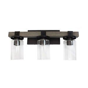 Lampe de meuble-lavabo lanterne de salle de bain à 3 lampes en bois restauré de Elegant Designs, gris