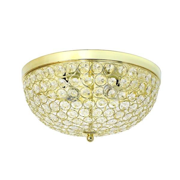 Plafonnier à 2 ampoules en cristal Elipse de Elegant Designs, or