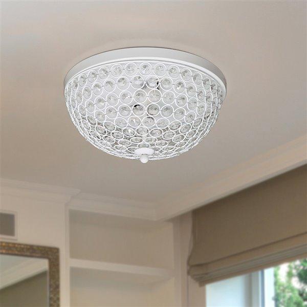 Plafonnier à 2 ampoules en cristal Elipse de Elegant Designs, blanc