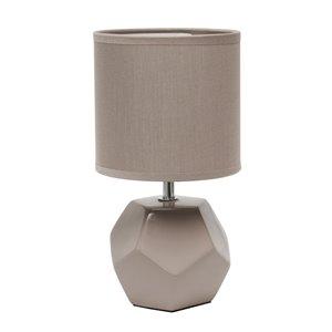 Mini lampe de table à prisme rond avec abat-jour en tissu assorti de Simple Designs, 10,4 po, gris