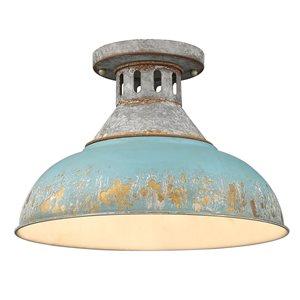 Golden Lighting Kinsley 1-Light  Semi Flush Mount - 14-in - Aged Galvanized Steel/Teal