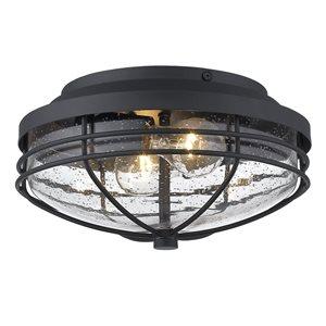 Golden Lighting Seaport Outdoor Flush-Mount Light - 12-in - Black