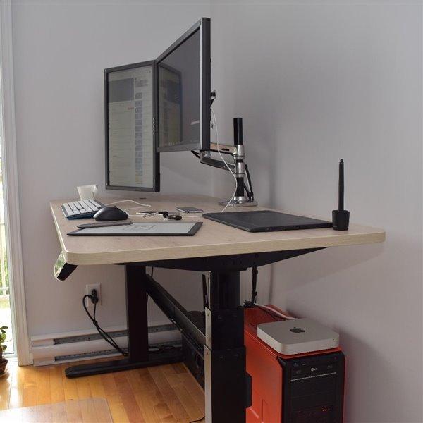Bureau Bordeaux d'United Canada moderne contemporain ajustable, 60po, jaune mat