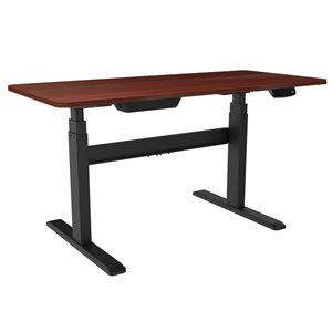 United Canada Bordeaux Modern Contemporary Adjustable Desk - 65-in - Red Matte
