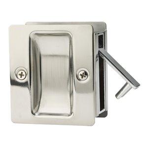 Serrure carrée pour porte coulissante de Weiser, nickel