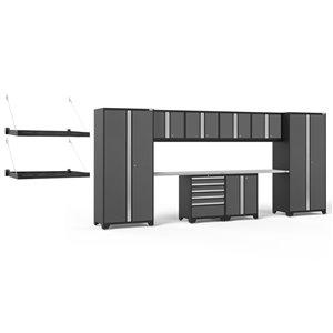Armoires en acier Pro Series de New Age Products, surface en acier inoxydable, 5 tiroirs, capacité de 6000 lb, 10 mcx, gris