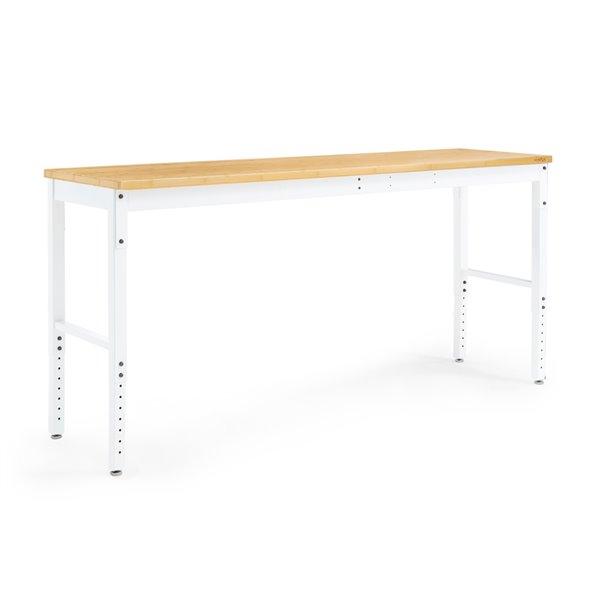 Ensemble d'établi Pro Series de New Age Products, surface de travail en bambou, blanc, 2 morceaux