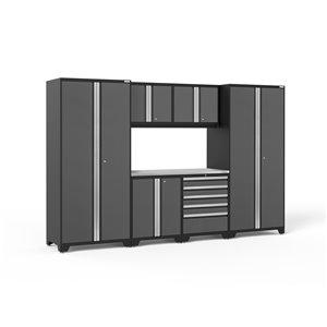 Armoires en acier Pro Series de New Age Products, surface en acier inoxydable, 5 tiroirs, capacité de 4400 lb, 7 mcx, gris