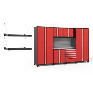 Armoires en acier Pro Series de New Age Products, 5 tiroirs, capacité de 5600 lb, 7 mcx, rouge