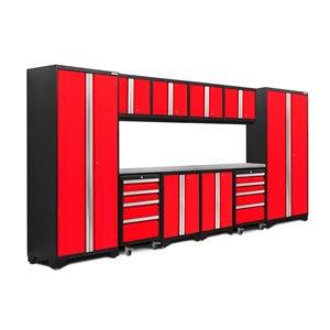 Armoires en acier Bold Series de New Age Products, surface en acier inoxydable, 8 tiroirs, capacité de 4400 lb, 12 mcx, rouge