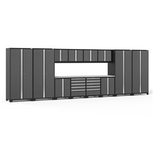 Armoires en acier Pro Series de New Age Products, surface en acier inoxydable, 10 tiroirs, capacité de 8800 lb, 14 mcx, gris