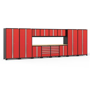 Armoires en acier Pro Series de New Age Products, surface en bambou, 10 tiroirs, capacité de 8800 lb, 14 mcx, rouge