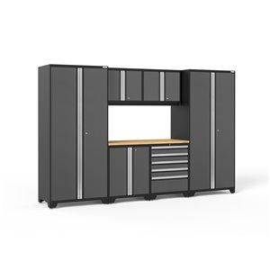 Armoires en acier Pro Series de New Age Products, surface en bambou, 5 tiroirs, capacité de 4400 lb, 7 mcx, gris
