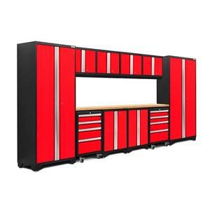 Armoires en acier Bold Series de New Age Products, surface en bambou, 8 tiroirs, capacité de 4400 lb, 12 mcx, rouge