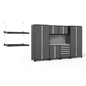 Armoires en acier Pro Series de New Age Products, surface en acier inoxydable, 5 tiroirs, capacité de 5600 lb, 7 mcx, gris