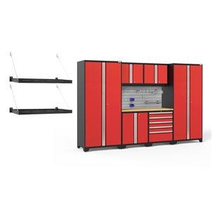 Armoires en acier Pro Series de New Age Products, surface en bambou, 5 tiroirs, 7 mcx, rouge