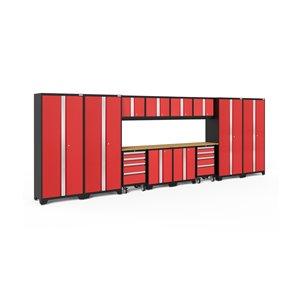 Armoires en acier Bold Series de New Age Products, surface en bambou, 8 tiroirs, capacité de 6000 lb, 14 mcx, rouge