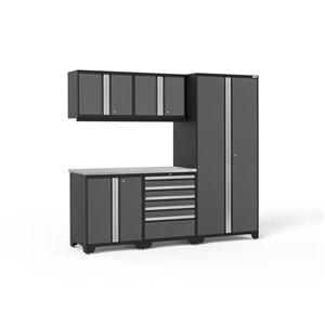 Armoires en acier Pro Series de New Age Products, surface en acier inoxydable, 5 tiroirs, capacité de 3400 lb, 6 mcx, gris