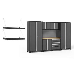 Armoires en acier Pro Series de New Age Products, surface en bambou, 5 tiroirs, capacité de 5600 lb, 7 mcx, gris